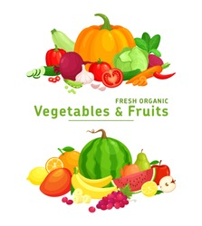 Vector illustration with fresh organic  vegetables and fruits isolated on white background. Healthy Food. Set of vegetarian sliced, full, half vegetables and fruits. Healthy lifestyle or diet concept.