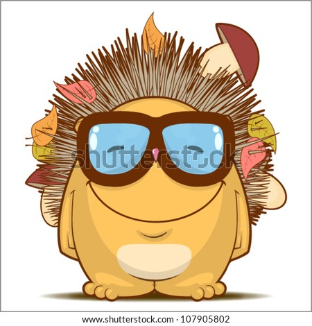 Vector illustration with funny cartoon hedgehog character.