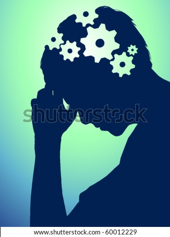 vector illustration with gears in brain
