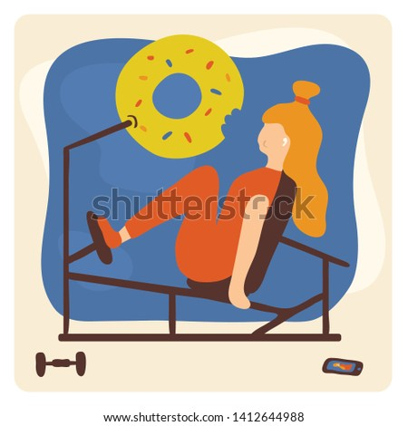 Vector illustration with girl and leg press machine. Funny scene in gym with young woman and donut. Keeping fit and enjoy. Keep calm and do exercise. Humorous motivational poster about losing weight.