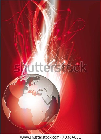 vector illustration with globe and patterns
