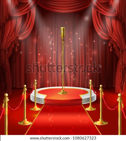 Vector illustration with golden microphone on podium, red curtains. Stage for stand up, performance or lecture. Public scene for speech of orator. Illuminated pulpit for conference