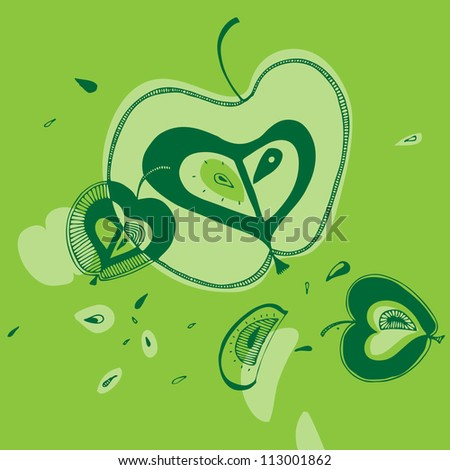 Vector illustration with green apples
