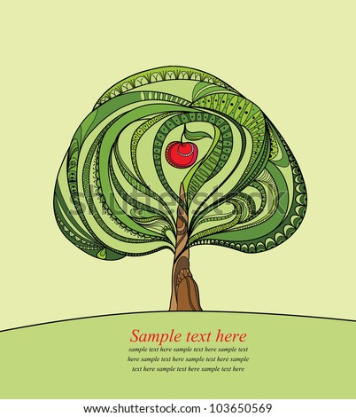 Vector illustration with green tree and red apple