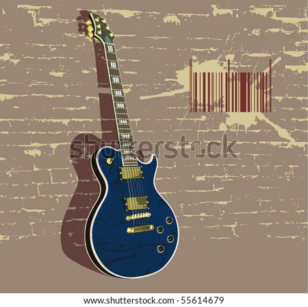 vector illustration with guitar in grunge style.