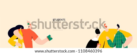 Vector illustration with guy and a girl, Students concept. People character vector illustration flat design. Use in Web Project and Applications.
