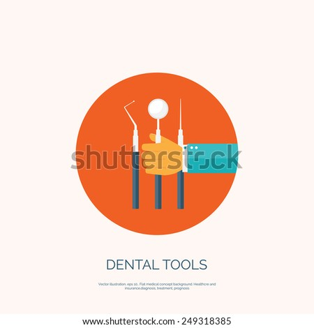 Vector illustration with hand and dental tools. Flat health care and medical research background. Healthcare system concept.
