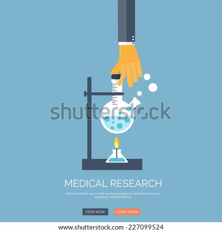 Vector illustration with hand and medical flask. Flat health care and medical research background. Chemical equipment.