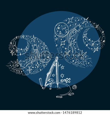 Vector illustration with hand drawn a stylized spiral of a galaxy with stars and a compass as a symbol of science that cognizes the Universe. Sketch on the study of the structure of the world, knowled