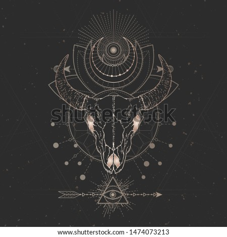 Vector illustration with hand drawn Bull skull and Sacred geometric symbol on black vintage background. Abstract mystic sign. Gold linear shape. For you design and magic craft.
