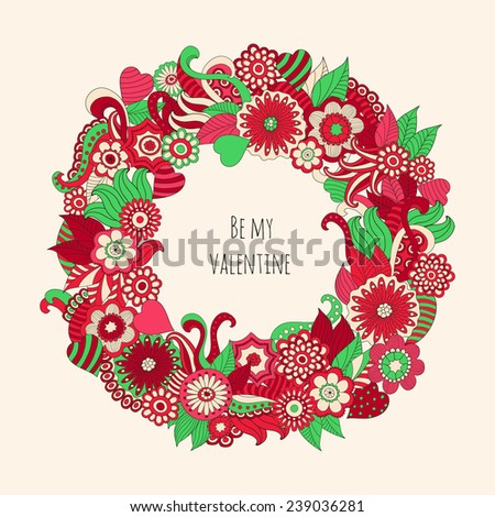 Vector illustration  with hand drawn colorful fantasy plants and flowers, pattern can be used for wallpaper,  stylish love card for Valentines day.
