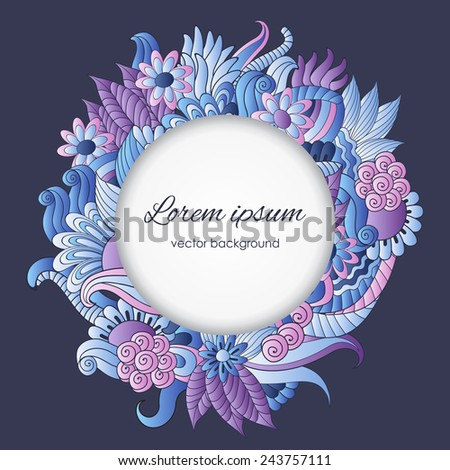 Vector illustration with hand drawn colorful plants and flowers, pattern can be used as wallpaper, stylish gift card