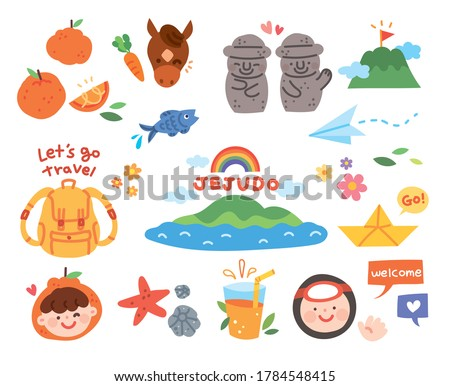 Vector illustration with hand drawn cute Jeju Island elements.