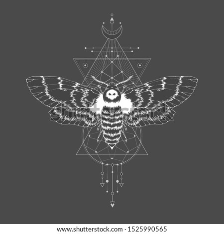 Vector illustration with hand drawn dead head moth and Sacred geometric symbol on black vintage background. Abstract mystic sign. White linear shape. For you design.