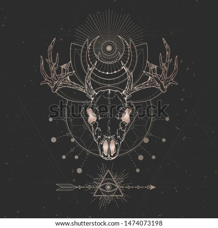 Vector illustration with hand drawn Deer skull and Sacred geometric symbol on black vintage background. Abstract mystic sign. Gold linear shape. For you design and magic craft.