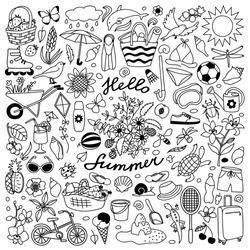 Vector illustration with hand drawn doodle summer elements