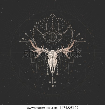 Vector illustration with hand drawn Elk skull and Sacred geometric symbol on black vintage background. Abstract mystic sign. Gold linear shape. For you design and magic craft.