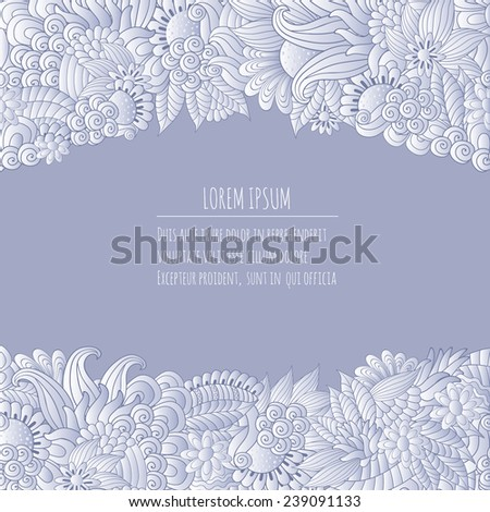 Vector illustration  with hand drawn fantasy plants and flowers, pattern can be used for Corporate identity,  stylish love card for Valentines day