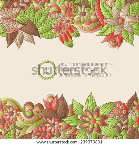 Vector illustration  with hand drawn fantasy plants and flowers, pattern can be used for Corporate identity,  stylish  card or invitation
