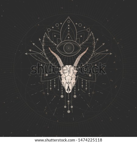 Vector illustration with hand drawn Goat skull and Sacred geometric symbol on black vintage background. Abstract mystic sign. Gold linear shape. For you design and magic craft.