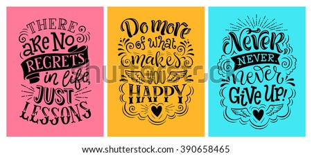Vector illustration with hand-drawn lettering.  Set of inscription for invitation and greeting card, prints and posters. Calligraphic design