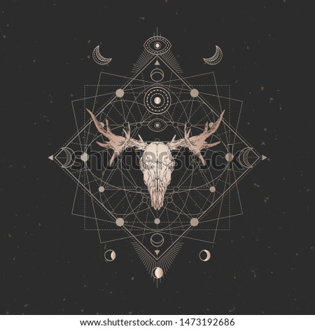 Vector illustration with hand drawn Moose skull and Sacred geometric symbol on black vintage background. Abstract mystic sign. Gold linear shape. For you design and magic craft.