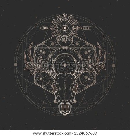 Vector illustration with hand drawn Stag skull and Sacred geometric symbol on black vintage background. Abstract mystic sign. Gold linear shape. For you design and magic craft.