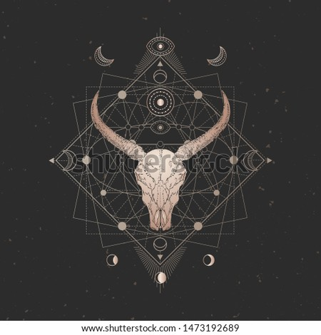 Vector illustration with hand drawn Wild buffalo skull and Sacred geometric symbol on black vintage background. Abstract mystic sign. Gold linear shape. For you design and magic craft.