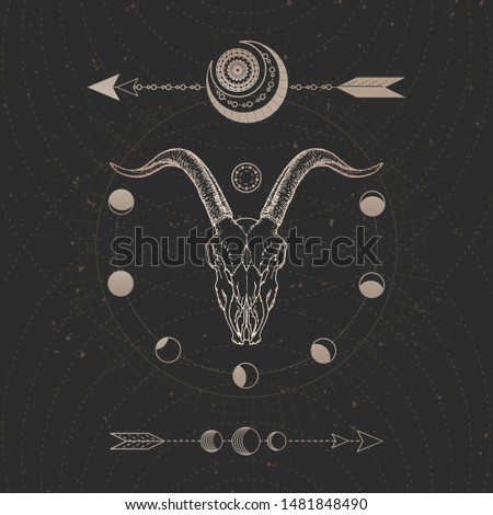 Vector illustration with hand drawn Wild goat skull and Sacred geometric symbol on black vintage background. Abstract mystic sign. Gold linear shape. For you design and magic craft.