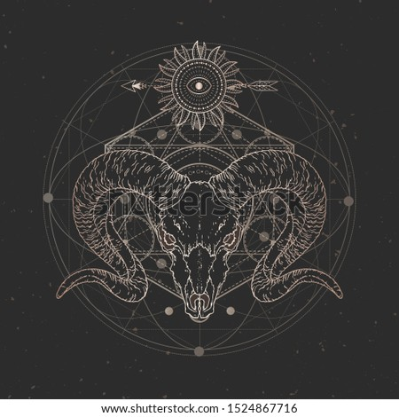 Vector illustration with hand drawn Wild ram skull and Sacred geometric symbol on black vintage background. Abstract mystic sign. Gold linear shape. For you design and magic craft.