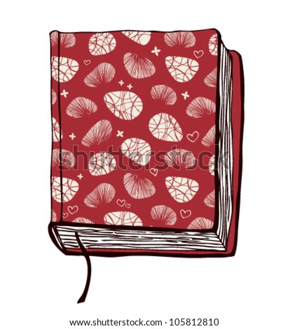 Vector illustration with hand drown red cover. Can use for passport cover, notebook cover, diary cover, phone cover. Sketch of book.