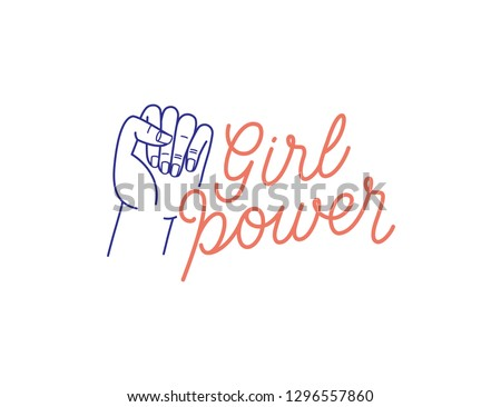 Vector illustration with hand-lettering phrase - girl power - stylish print for poster or t-shirt - feminism quote and woman motivational slogan - international women's day phrase