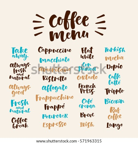 Vector illustration with handwritten lettering. Graphic elements for coffee shop, market, cafe design, restaurant menu and recipes. Coffee types and brewing methods