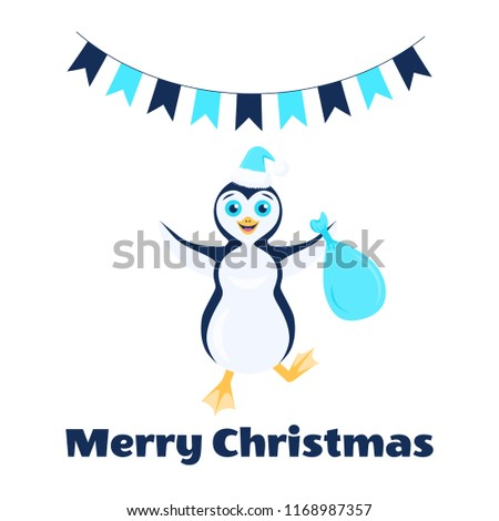 Vector illustration with happy stomping penguin in santa turquoise hat with bag in outstretched arms. Flags. Text Merry Christmas. Isolated on the white background.