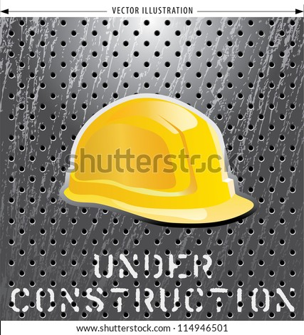 vector illustration with helmet on perforated metal plate