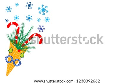 Vector illustration with ice cream cone, candy canes, snowflakes, sprig of Christmas trees, carnival glasses. Design for party card, banner, poster or print. #1230392662
