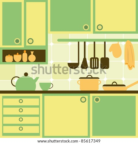 Vector illustration with kitchen