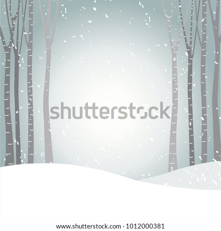Vector Illustration With Light Grey Winter Background. Snow Field, Growing  Birches And Another Trees