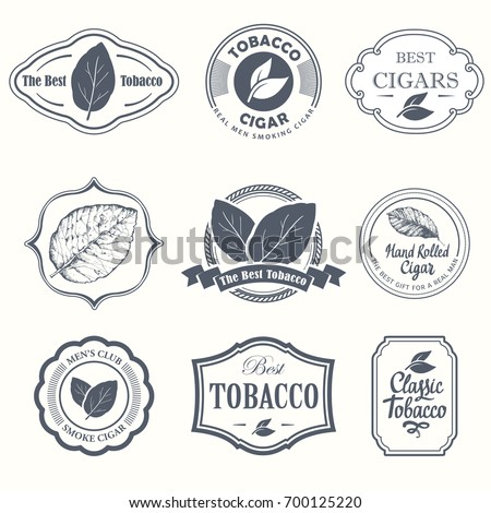 Vector Illustration with logo and labels. Simple symbols tobacco, cigar. Traditions of smoke. Decorative elements, icon for your design. Gentleman style.