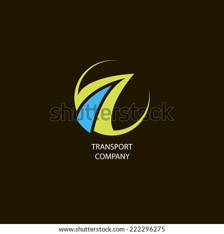 vector illustration with logo of transport company on black background