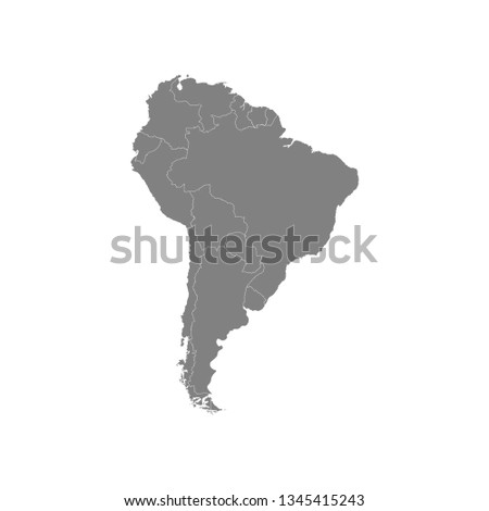 Vector illustration with map of South America continent. Grey silhouettes, white background.