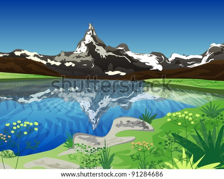 Vector illustration with mountains