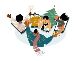 Vector illustration with multicultural characters young friends and colleagues of different races meeting online to celebrate winter Holidays together safely. Socially distanced Christmas greetings.