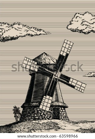 Vector illustration with old windmill engraving style