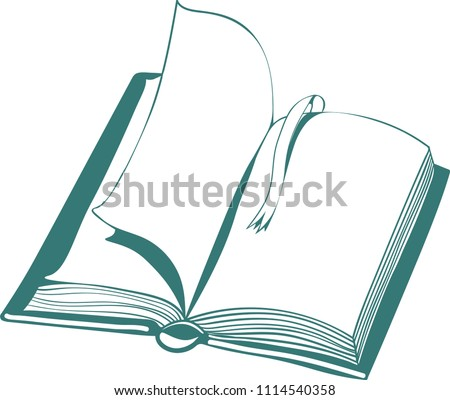 vector illustration with open book and bookmark, linear drawing on white background