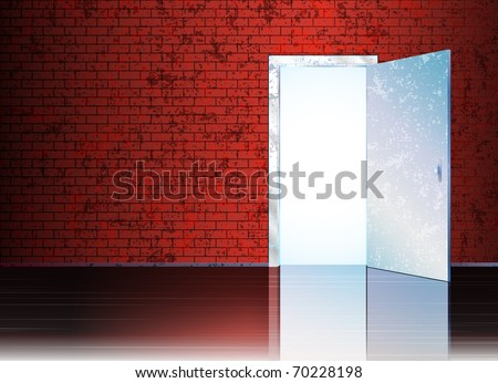 Vector illustration with open door and empty space behind it for your symbol or text. eps10