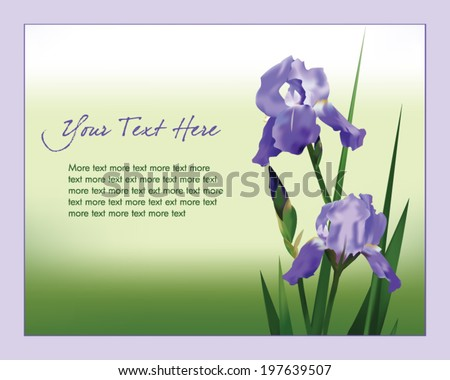 Beautiful purple iris flowers pattern vector download free vector illustration with ornamental iris flowers decorative floral template for greeting cards invitations pronofoot35fo Image collections