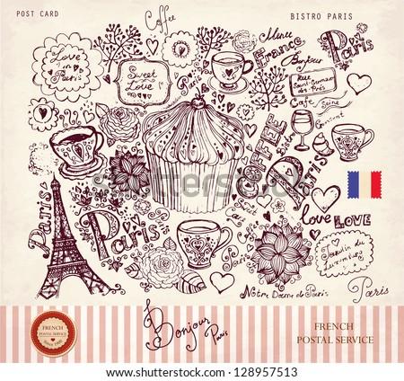 Vector illustration with Paris symbols