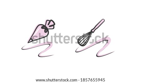 Vector illustration with pastry tools. Pastry bag and whisk. Design element for pastry chef, chocolatier, baker.