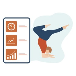 Vector illustration with person does yoga exercise, yoga pose and display with yoga app. Yoga for everyone. Healthy lifestyle. Balance training. Design for app, websites, print, presentation.